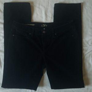LOFT Black Corduroy Modern Straight Pants
